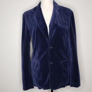 AEO Blue Velvet Blazer Plaid Lining Size XS